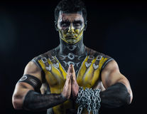 Professional make-up scorpion. From mortal kombat Royalty Free Stock Photos