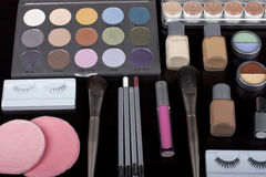 Professional make-up set. Black background Royalty Free Stock Image