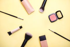 Professional make up tools. Flat lay composition. royalty free stock images
