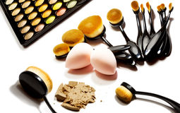 Professional make-up tools isolated on white Stock Photography