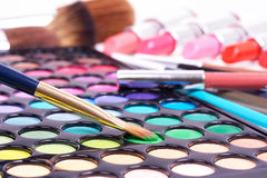 Professional make up tools on white Royalty Free Stock Image