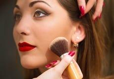 Professional makeup, applying face powder. Royalty Free Stock Photos