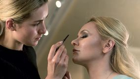 Professional makeup artist applying eyebrows. Fashion industry cosmetics. Close-up beauty and fashion concept. stock video