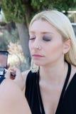 Professional makeup artist applying make up outdoor Stock Photo