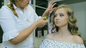 Professional makeup artist applying mascara to blond models eyelashes. stock video