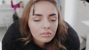 Professional makeup artist combing eyebrows with a special eyebrow brush of a beautiful girl. Woman client in beauty. Salon doing eyebrow makeup stock video footage