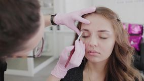 Professional makeup artist does eyebrow markup for client girl. Professional makeup artist does eyebrow markup for client girl stock footage