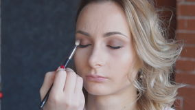 Professional makeup artist putting cosmetics on model face stock video