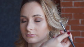 Professional makeup artist putting cosmetics on model face stock video footage