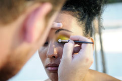 Professional makeup with a beautiful young black woman Stock Images