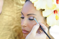 Professional makeup with a beautiful young black woman Stock Image
