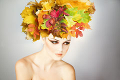 Professional makeup beautiful young woman in autumn Royalty Free Stock Image
