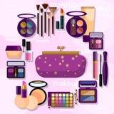 Professional makeup beauty glamor eyeshadow mascara blush powder Royalty Free Stock Photography