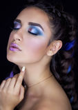 Professional makeup for brunette royalty free stock photography