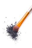 Professional makeup brush and loose powder eyeshadows isolated Royalty Free Stock Images