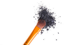 Professional makeup brush and loose powder eyeshadows isolated Royalty Free Stock Photography