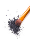 Professional makeup brush and loose powder eyeshadows isolated Royalty Free Stock Image