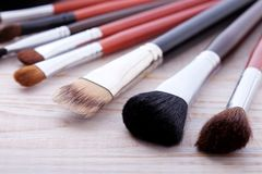 Professional Makeup Brush On White Wooden Background Royalty Free Stock Photos