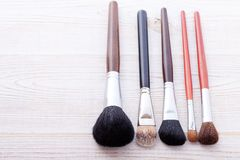 Professional Makeup Brush On White Wooden Background Stock Photo