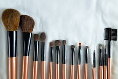Professional makeup brush set close up. Stock Photo