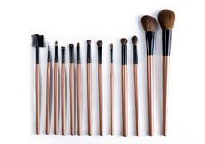 Professional makeup brush set on white background. Royalty Free Stock Photography