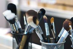 Professional makeup brushes stock photos