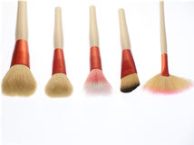 Professional makeup brushes. On white background Royalty Free Stock Photos
