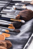 Professional makeup brushes in compact case Royalty Free Stock Photography