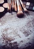 Professional makeup brushes and tools collection, make-up produc Royalty Free Stock Photography