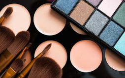 Professional makeup brushes and tools, make-up products set Stock Photos