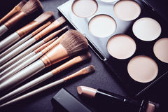 Professional makeup brushes and tools, make-up products set Stock Photography
