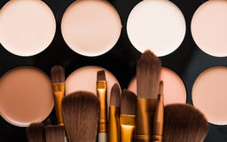 Professional makeup brushes and tools, make-up products set Royalty Free Stock Photos