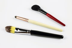 Professional makeup brushes. On a white background Stock Image