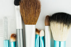 Professional makeup brushes on white Royalty Free Stock Images