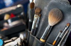 Professional makeup case with brushes Royalty Free Stock Photography