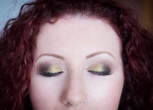 Professional makeup on closed eyes c Royalty Free Stock Photo