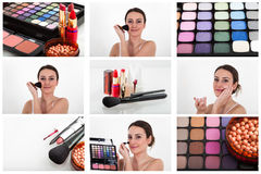 Professional makeup collage Royalty Free Stock Photos