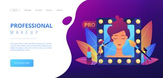 Professional makeup concept landing page. Professional makeup artists applying make up with brush on woman face in mirror. Professional makeup, pro artistry royalty free illustration