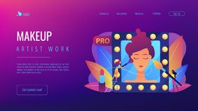 Professional makeup concept landing page. Professional makeup artists applying make up with brush on woman face in mirror. Professional makeup, pro artistry vector illustration