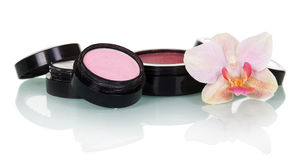 Professional makeup: eye shadow, blush and orchid flower isolated. Stock Photo