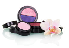 Professional Makeup: eyeshadow, blush and orchid flower isolated on white. Stock Photos
