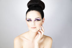 Professional makeup and hairstyle beautiful young woman close up Stock Photo