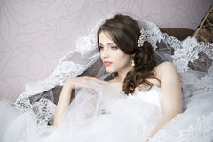 Professional makeup hairstyle bride Stock Images