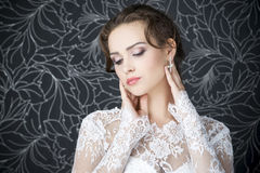 Professional makeup hairstyle bride Stock Photos