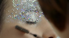 Professional Makeup Model With Mascara And Glamour Gloss stock footage