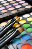 Professional Makeup Palette And Brushes Royalty Free Stock Photography