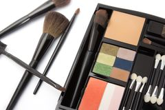 Professional makeup palette and brushes Royalty Free Stock Photo