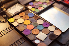 Professional makeup palette with different color shades Royalty Free Stock Photo
