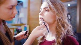 Professional makeup process stock footage