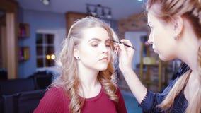 Professional makeup process stock video